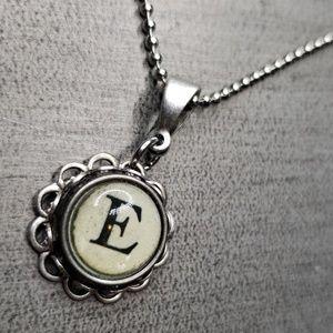 Jewelry - Alphabet initial E typewriter charm necklace